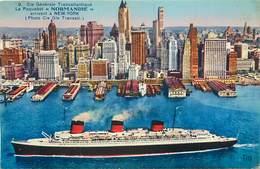Carte Colorisée De La COMPAGNIE GENERALE TRANSATLANTIQUE Paquebot LE NORMANDIE Arrivant à NEW YORK Tito N°9 - Paquebote