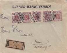 ÖSTERREICH 1921 - 5 X 5 Kronen (5 Er Streifen Mit Perfins Ank318) Auf R-Firmenbrief Gel.v.Wien > Bern - Briefe U. Dokumente