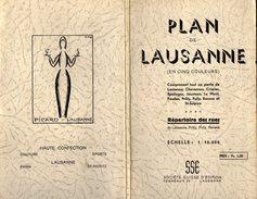 VP7410 - SUISSE - Ancien Plan De LAUSANNE En Cinq Couleurs Avec Répertoire Des Rues De Lausanne, Prilly, Pully, Renens - Geographical Maps