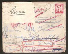 Brief Gefrankeerd Met Nr. 925 Verzonden Naar SAINT-GERMAIN (PARIJS) Adres INCONNU , RETOUR A L'ENVOYEUR + REBUTS ! RRRRR - 1953-1972 Lunettes
