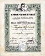 EHRENURKUNDE 1935 - Stenographisches Preisrichterschreiben, Stempel Des Deutsch Österr.Stenographenverband Wien VI ... - Historische Dokumente