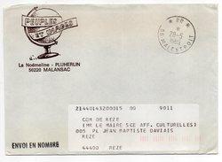 """Cachet Manuel Du 28-5-1985--Cachet Manuel MALESTROIT-56--Mention PP Sur Lettre Pers""""Peuples Et Images-Malansac""""-griffe - Marcophilie (Lettres)"""