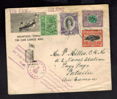 1935 Tonga Toga Tin Can Canoe Mail Illustrate Cover To Pago Pago Quensell Signed - Tonga (...-1970)