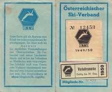MITGLIEDSKARTE 1949/50 Des Österreichischen SKI-VERBANDES ÖSV (Abgelöstes Bild) - Historische Dokumente