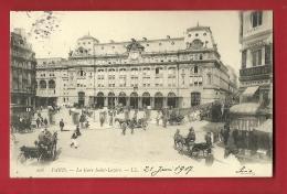 PRF-05 Paris La Gare Saint-Lazare, Attelages, ANIME  Cachet 1907 Vers La Suisse - Paris (08)