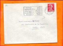 """AUBE, Troyes, Flamme SCO>TEM N° 172, """"ses églises, Monuments, Musées"""" - Storia Postale"""