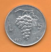 ITALIA - ITALY = 5 Liras 1950 - 1946-… : República