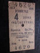 Russie URSS CCCP TRAIN Ligne Leningrad 3oha Titre De Transport  Ticket Simple Perforé Chemins De Fer Russe Métro   Monde - Chemins De Fer