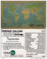 USA - World Map, Global One(Deutsche Telecom, France Telecom, Sprint) Prepaid Card 50 Units, Exp.date 10/01, Used