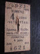 Russie URSS CCCP TRAIN Ligne Leningrad  3oha Titre De Transport Ticket Simple Perforé Chemins De Fer Russe Métro-  Monde - Monde