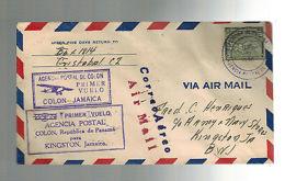 1930 Panama First Flight Cover FFC Colon To Kingston Jamaica - Panama