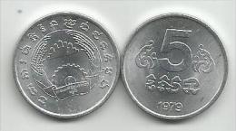 Cambodia 5 Sen 1979. UNC - Cambodia
