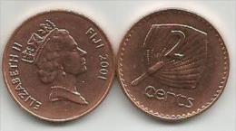 Fiji 2 Cents 2001. High Grade - Fiji