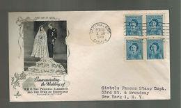 1948 Ottowa Canada Royal Wedding Duke Of Edinburgh & Queen Elizabeth Cover USA - Commemorative Covers