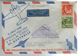 1938 Netherlands  Indies KLM First Flight Cover To DArwin Australia FFC KNILM - Unclassified