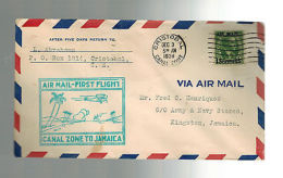 1930 Cristobal Panama Canal Zone First Flight Cover FFC To Jamaica - Event Covers