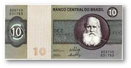 BRASIL - 10 CRUZEIROS - ND ( 1970 ) - P 193.a - Serie 746 - Sign. 17 - Prefix A - D. PEDRO II - Brasil