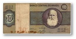 BRASIL - 10 CRUZEIROS - ND ( 1970 ) - P 193.a - Serie 1019 - Sign. 17 - Prefix A - D. PEDRO II - Brésil