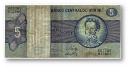 BRASIL - 5 CRUZEIROS - ND ( 1973 ) - P 192.b - Serie 385 - Sign. 17 - Prefix B - D. PEDRO I - Brasil