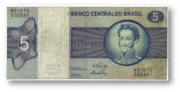 BRASIL - 5 CRUZEIROS - ND ( 1973 ) - P 192.b - Serie 1670 - Sign. 17 - Prefix B - D. PEDRO I - Brasile