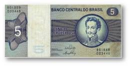 BRASIL - 5 CRUZEIROS - ND ( 1973 ) - P 192.b - Serie 1889 - Sign. 17 - Prefix B - D. PEDRO I - Brésil