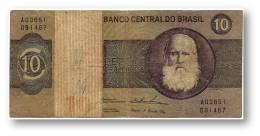 BRASIL - 10 CRUZEIROS - ND ( 1974 ) - P 193.b - Serie 3651 - Sign. 18 - Prefix A - D. PEDRO II - Brasil