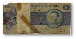 BRASIL - 5 CRUZEIROS - ND ( 1974 ) - P 192.c - Serie 4476 - Sign. 18 - Prefix B - D. PEDRO I - Brazil