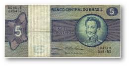 BRASIL - 5 CRUZEIROS - ND ( 1974 ) - P 192.c - Serie 4519 - Sign. 18 - Prefix B - D. PEDRO I - Brasile