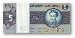 BRASIL - 5 CRUZEIROS - ND ( 1974 ) - P 192.c - Serie 5147 - Sign. 18 - Prefix B - D. PEDRO I - Brazil