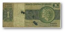 BRASIL - 1 CRUZEIRO - ND ( 1975 ) - P 191A.b - Serie 9868 - Sign. 18 - Prefix B - LIBERTY - Brésil
