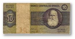 BRASIL - 10 CRUZEIROS - ND ( 1980 ) - P 193.e - UNC. - Serie 3622 - Sign. 20 - Prefix B - D. PEDRO II - Brasile