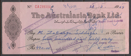 PAKISTAN Cheque The Australasia Bank Ltd. Karachi 30-3-1964 - Monnaies & Billets