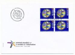 """SUISSE - 2 Enveloppes FDC """"Sommet Mondial Société De L'Information"""" - UIT - 2003 Genève - FDC"""