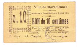 Bon De 10c De La Ville De La Marchiennes 1915 - Bons & Nécessité