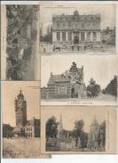 BERGUES LOT 5 CP.  PANORAMA.  BEFFROI 14é. MAIRIE 1867. CROIX ROUGE (quaedypre). COURS DE LANCIENNE ABBAYE ST WINOC - Bergues