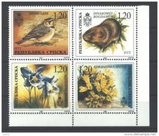 Bosnien Und Herzegowina (Bosnia) – Republic Of Srpska 1996 Flora And Fauna Se-tenant Block Of Four MNH - Bosnië En Herzegovina