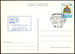 SAN MARINO VERONA 1993 - 1° CAMPIONATO ITALIANO FILATELIA SPORTIVA - CARTOLINA POSTALE + ETICHETTA - Francobolli