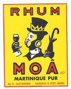 étiquette Pub Rhum Moâ, Martinique ( Justamond, Bagnols Sur Cèze, Négritude ) - Rhum
