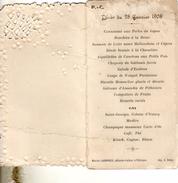 Menu D Un Diner Du 28 01 1908  Par Maxime Laumonier  Patissier Traiteur  Phitiviers - Menu