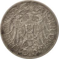 GERMANY - EMPIRE, Wilhelm II, 25 Pfennig, 1909, Berlin, TB+, Nickel, KM:18 - [ 2] 1871-1918 : Imperio Alemán