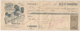 Timbre Domaine 5c Sur SUPERBE MANDAT VINS FRANCAIS  AUDEMARD. VERGEZE Gard. 1891. - Fiscaux