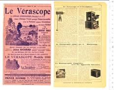 2 Scans Document 1901 Vérascope Taxiphote Matériel Photographique / Hotel Médecine Nouvelle Rue De Lisbonne Paris 204/2 - Werbung