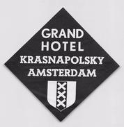 "D5332 ""GRAND HOTEL - KRASNAPOLSKY AMSTERDAM - HOLLAND""  ETICHETTA ORIGINALE - ORIGINAL LABEL - Hotel Labels"