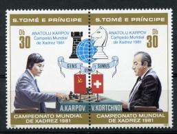 Sao Tome And Principe, 1981, Chess, Echec, Karpov,MNH Perf Pair, Blue Overprint, Michel 712-13A - Sao Tome Et Principe