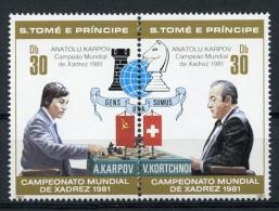 Sao Tome And Principe, 1981, Chess, Echec, Karpov, MNH Perf Pair, Black Overprint, Michel 712-13A - Sao Tome En Principe