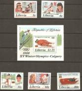 Liberia 1987 1631-36 Winter Olympics Plus Miniature Sheet Unmounted Mint - Liberia
