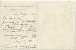 BALLON SARTHE H LEFRANC NOTAIRE SUCCESSEUR DE ME GUITTET PETITE LETTRE DOUBLE ANNEE 1891 - France