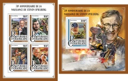 DELUXE IMPERF Central Africa 2016 Steven Spielberg 70th Aniv Cinema Jurassic Park Dinosaurs MS+S/S CA16913 - Stamps