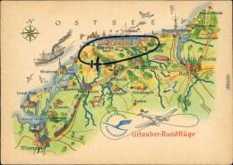 Allgemein Mecklenburg Vorpommern Landkarte: Ostsee - Urlauber-Rundflüge 1958 - Germania