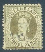 Queensland 1868. 3d Olive-green (p13 - Truncated Star). SG 65. - 1860-1909 Queensland